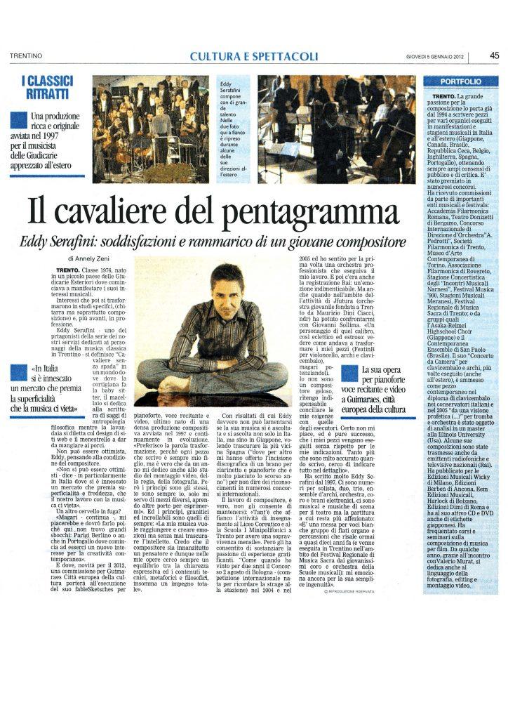 Il cavaliere del pentagramma – Il Trentino – 5/01/2012
