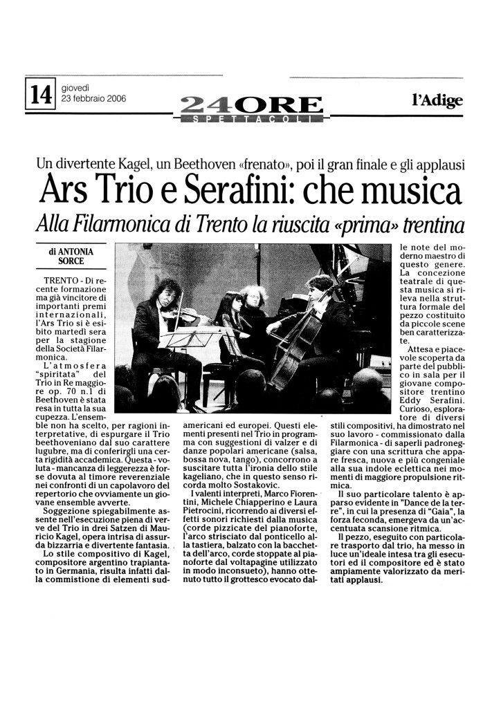 Ars Trio e Serafini: che musica – l'Adige – 23/02/2006