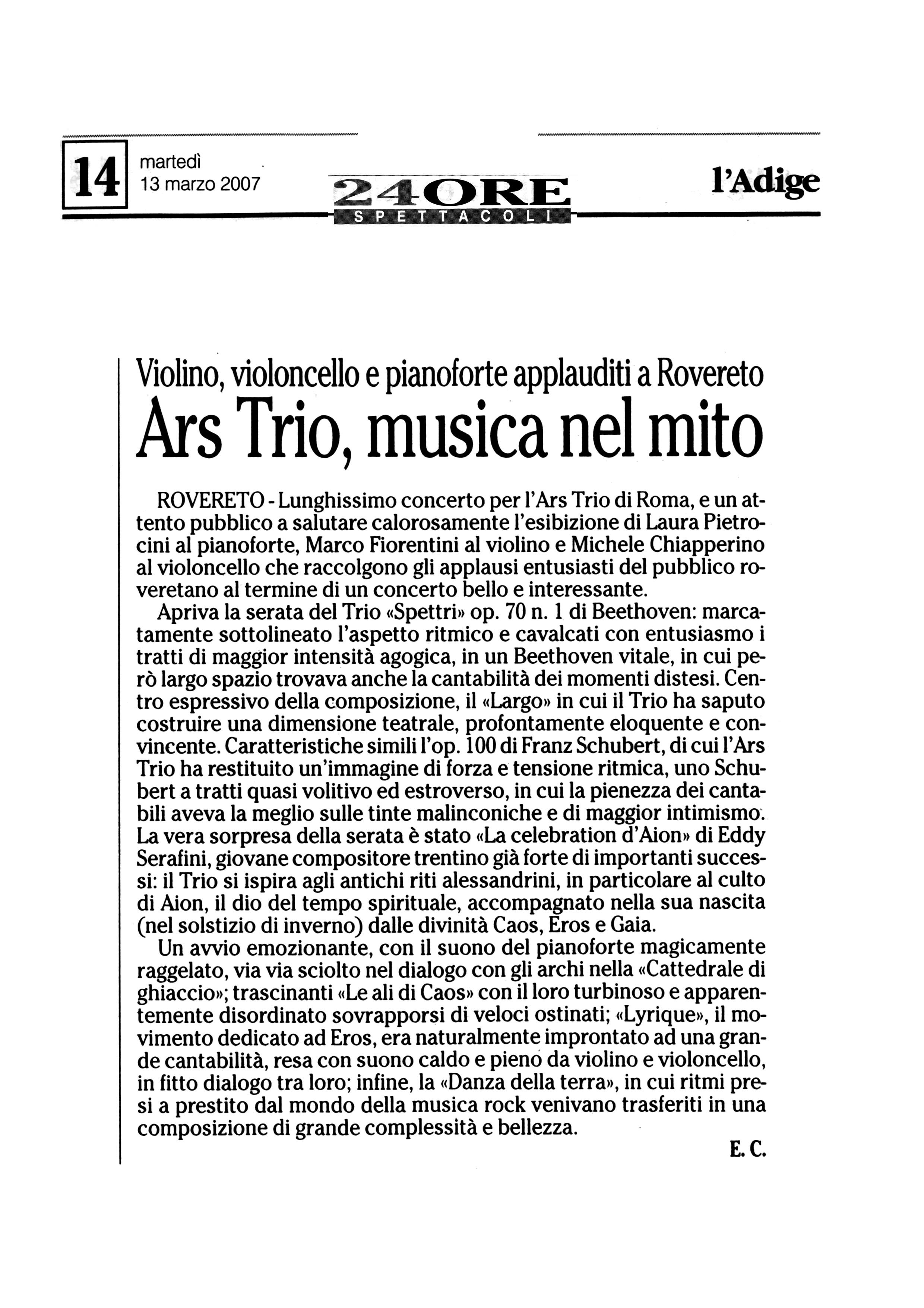Ars Trio, musica nel mito – l'Adige – 13/03/2007