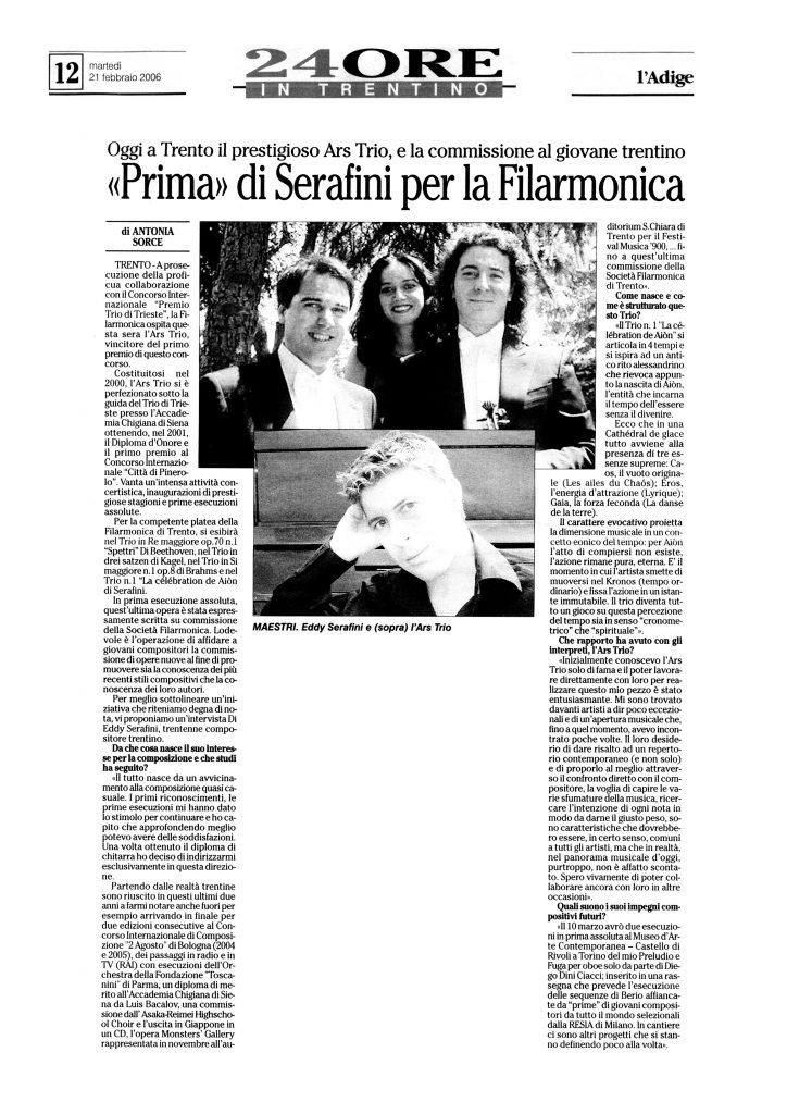 """""""Prima"""" di Serafini per la Filarmonica – l'Adige – 21/02/2006"""