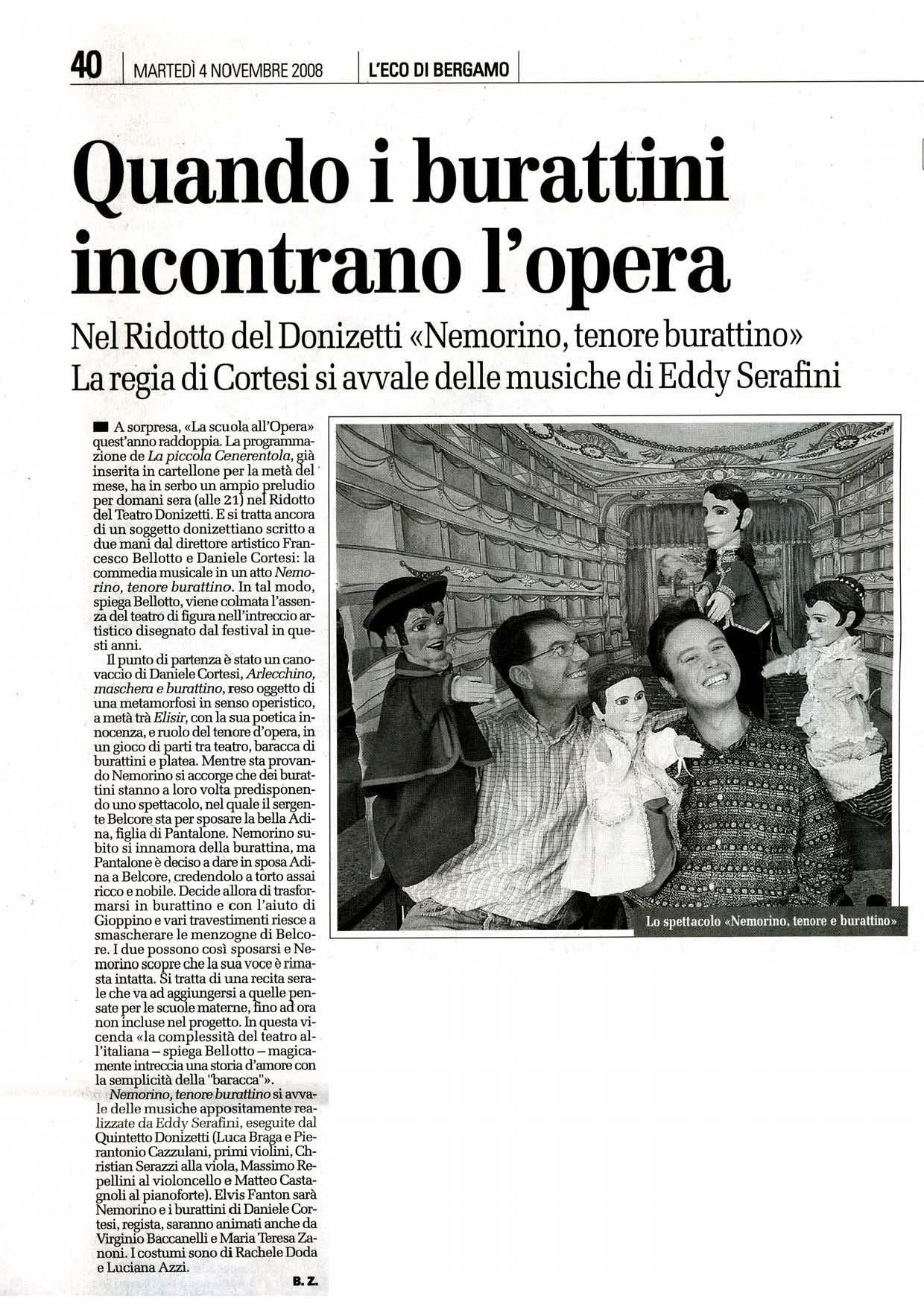 Quando i burattini incontrano l'opera – L'Eco di Bergamo – 4/11/2008