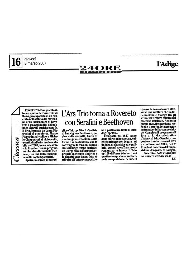 L'Ars Trio torna a Rovereto con Serafini e Beethoven – l'Adige – 8/03/2007
