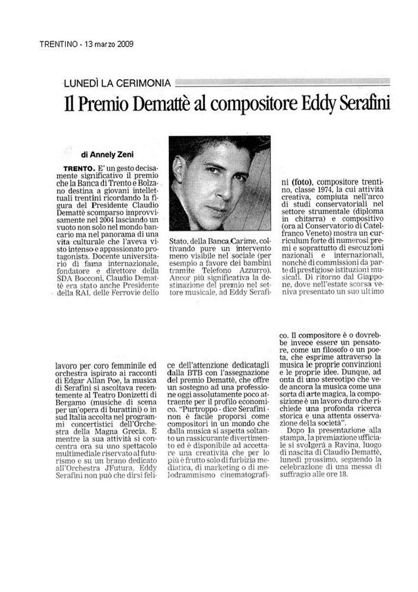 Il Premio Demattè per il compositore Eddy Serafini – Trentino – 13/03/2009