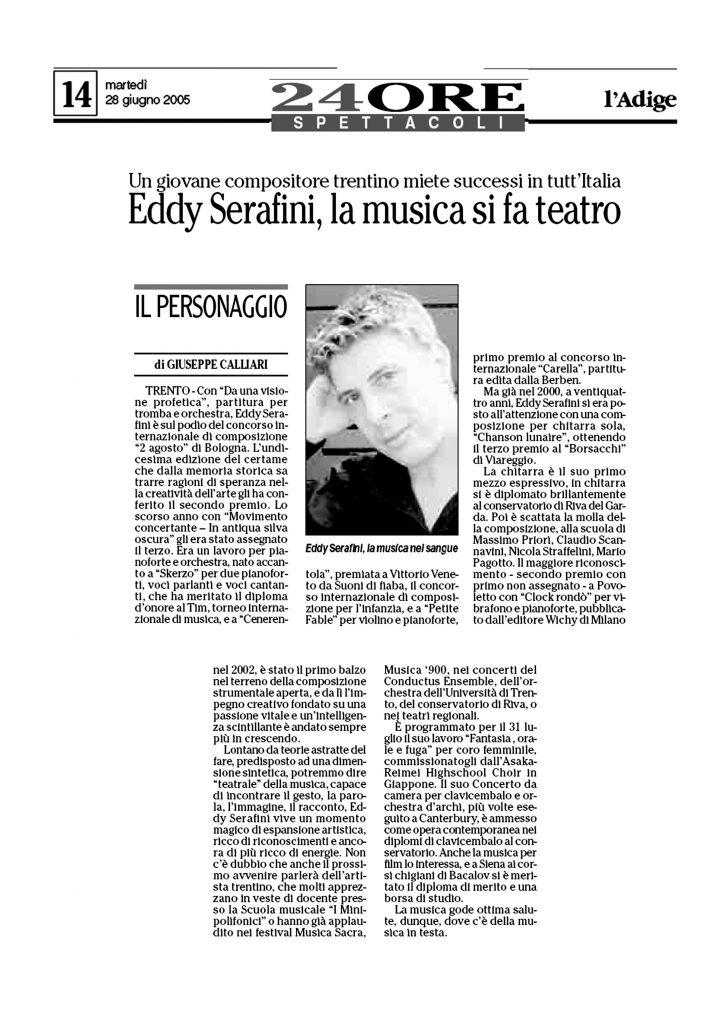 Eddy Serafini, la musica si fa teatro – l'Adige – 28/06/2005