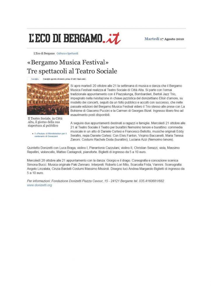 """""""Bergamo Musica Festival"""". Tre spettacoli al Teatro Sociale – l'Eco di Bergamo – 17/08/2010"""