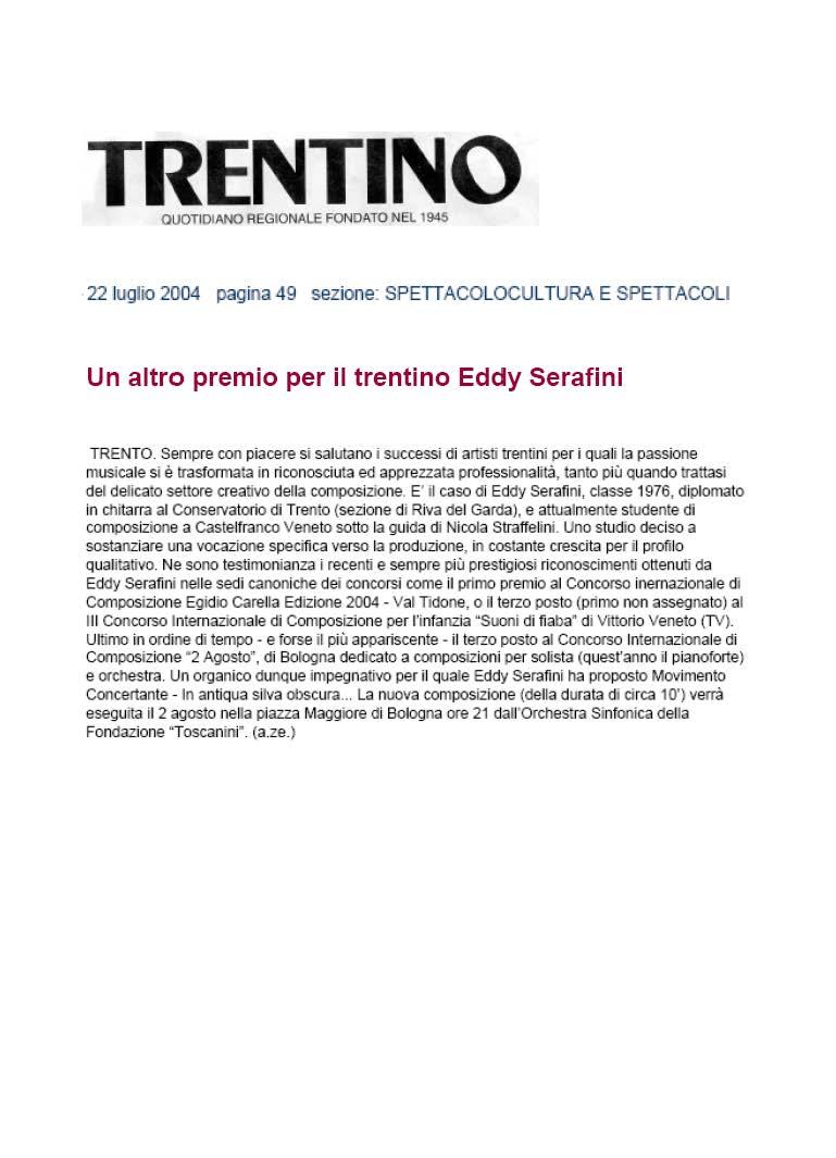 Un altro premio per il compositore Eddy Serafini – Trentino – 22/07/2004
