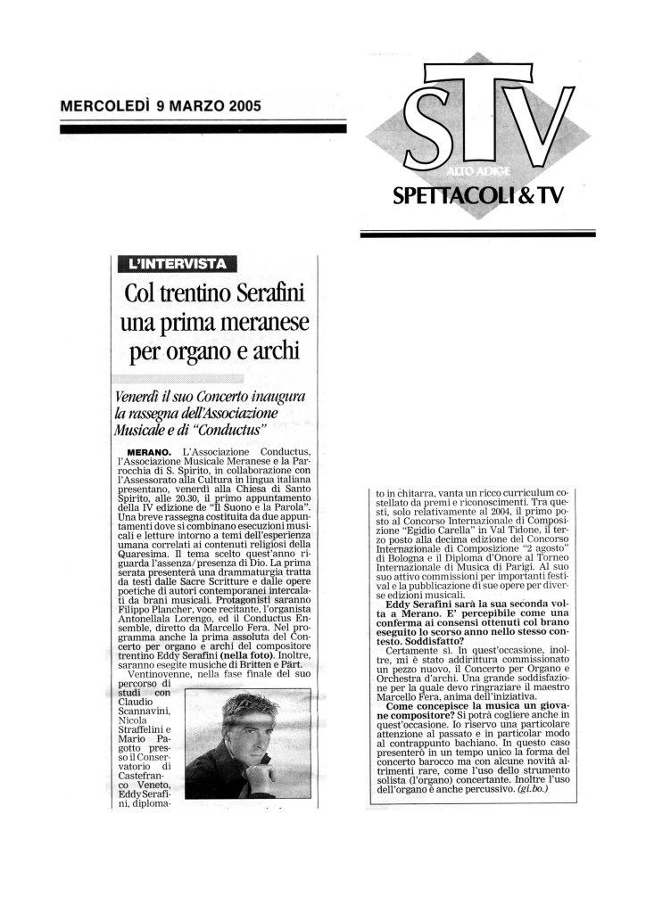 Col trentino Eddy Serafini una prima meranese per organo e archi – Alto Adige – 9/03/2005