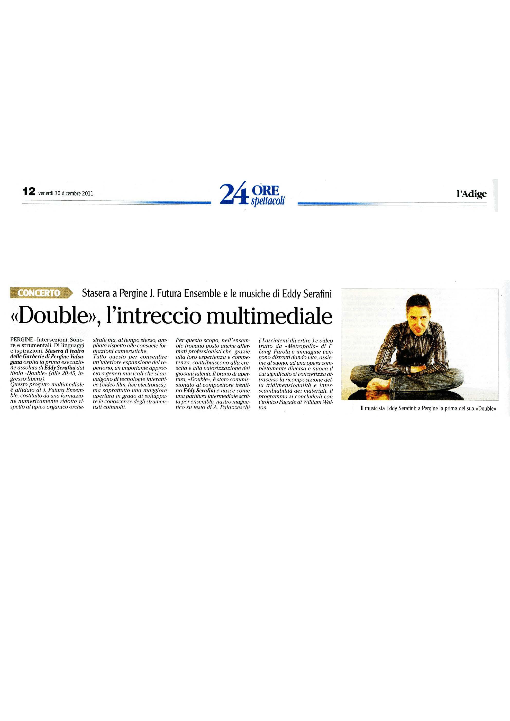 """""""Double"""" l'intreccio multimediale – l'Adige – 30/12/2011"""