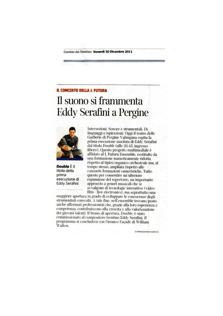 Il suono di frammenta Eddy Serafini a Pergine – Corriere del Trentino – 30/12/2011