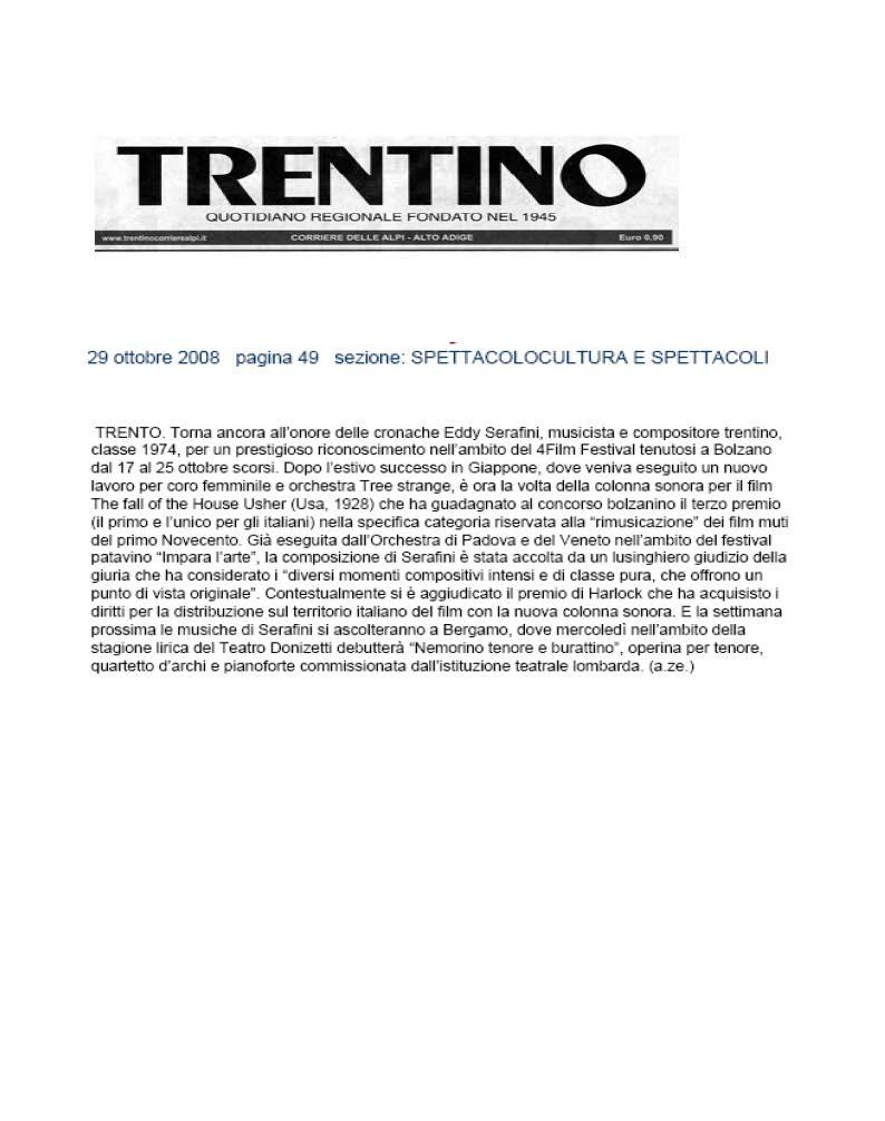 Dal Giappone a Bolzano e Bergamo i successi del trentino Eddy Serafini – Trentino – 29/10/2008